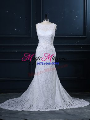 Chic White Mermaid Scoop Sleeveless Lace Brush Train Backless Lace Bridal Gown