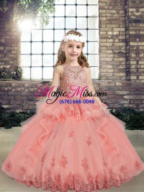 Scoop Sleeveless Lace Up Little Girls Pageant Dress Wholesale Watermelon Red Tulle