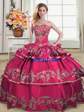 Flare Hot Pink Ball Gowns Organza Sweetheart Sleeveless Embroidery and Ruffled Layers Floor Length Lace Up Sweet 16 Dress