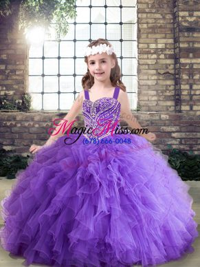 Adorable Beading and Ruffles Pageant Gowns For Girls Lavender and Purple Lace Up Sleeveless Floor Length