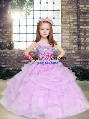 Ball Gowns Child Pageant Dress Lavender Straps Tulle Sleeveless Floor Length Lace Up