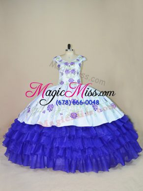 White And Purple Ball Gowns Embroidery and Ruffled Layers 15 Quinceanera Dress Lace Up Satin and Organza Cap Sleeves Floor Length
