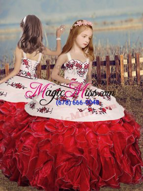 Ball Gowns Little Girls Pageant Dress Red Straps Organza Sleeveless Floor Length Lace Up