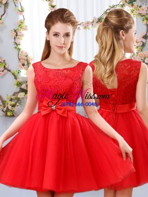 Red A-line Lace and Bowknot Quinceanera Court Dresses Lace Up Tulle Sleeveless Mini Length
