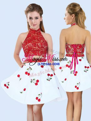 Eye-catching Sleeveless Mini Length Lace and Pattern Lace Up Dama Dress for Quinceanera with White And Red