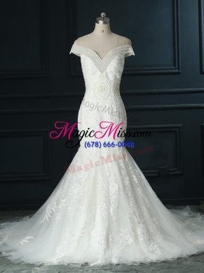 Zipper Wedding Gowns White for Wedding Party with Beading and Lace Court Train