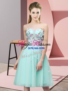 Customized Apple Green Lace Up Quinceanera Court of Honor Dress Appliques Sleeveless Knee Length