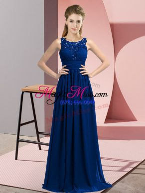 Artistic Scoop Sleeveless Dama Dress for Quinceanera Floor Length Beading and Appliques Royal Blue Chiffon