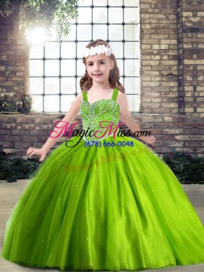 Cute Beading Little Girls Pageant Dress Green Lace Up Sleeveless Floor Length