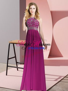 Fuchsia Sleeveless Floor Length Beading Backless Prom Gown