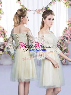 Graceful Champagne Empire Lace and Bowknot Bridesmaid Dress Lace Up Tulle 3 4 Length Sleeve Mini Length