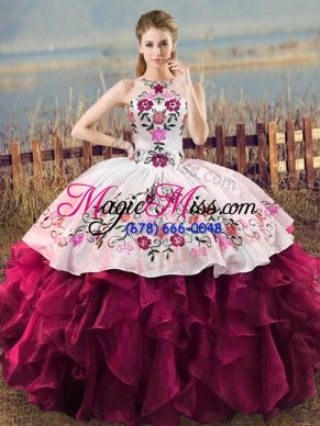 Halter Top Sleeveless Organza Quince Ball Gowns Embroidery and Ruffles Lace Up