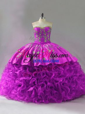 Pretty Fuchsia Lace Up 15 Quinceanera Dress Beading and Embroidery and Ruffles Sleeveless Brush Train