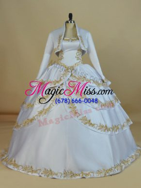 Customized Ball Gowns Ball Gown Prom Dress White Straps Satin Sleeveless Floor Length Lace Up