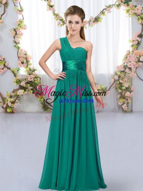 Peacock Green Sleeveless Belt Floor Length Quinceanera Court of Honor Dress