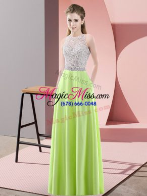 Colorful Floor Length Empire Sleeveless Yellow Green Evening Dress Backless