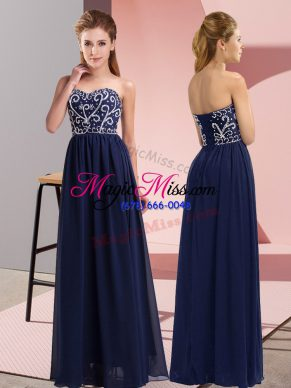 Excellent Navy Blue Chiffon Lace Up Sweetheart Sleeveless Floor Length Homecoming Dress Beading