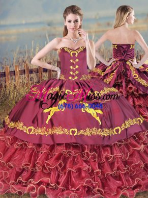 Lace Up Vestidos de Quinceanera Burgundy for Sweet 16 and Quinceanera with Embroidery and Ruffled Layers Brush Train