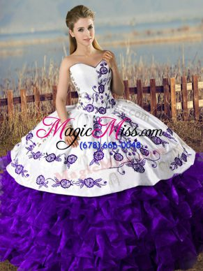 Clearance Satin and Organza Sleeveless Floor Length Quinceanera Gown and Embroidery and Ruffles