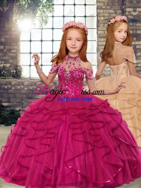 Fuchsia Sleeveless Tulle Lace Up Little Girls Pageant Gowns for Party and Wedding Party