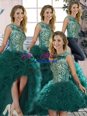 Peacock Green Scoop Neckline Beading and Ruffles Sweet 16 Dresses Sleeveless Lace Up