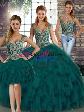 Peacock Green Three Pieces Beading and Ruffles Sweet 16 Dress Lace Up Organza Sleeveless Floor Length
