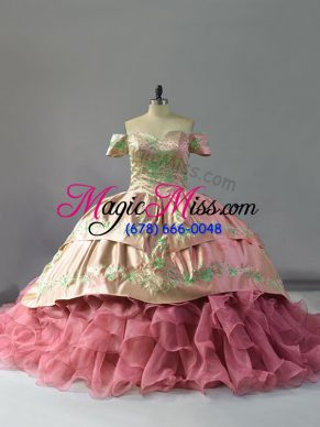 Artistic Chapel Train Ball Gowns Sweet 16 Quinceanera Dress Pink Off The Shoulder Organza Sleeveless Floor Length Lace Up