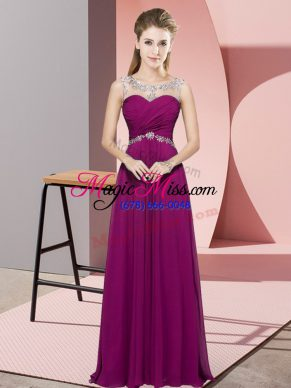 Inexpensive Floor Length Backless Prom Party Dress Fuchsia for Prom and Party and Military Ball with Beading