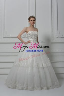 White Wedding Dresses Wedding Party with Beading and Lace Strapless Sleeveless Lace Up