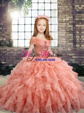Attractive Floor Length Peach Child Pageant Dress Organza Sleeveless Beading and Ruffles
