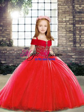 Latest Red Ball Gowns Beading Little Girls Pageant Gowns Lace Up Tulle Sleeveless