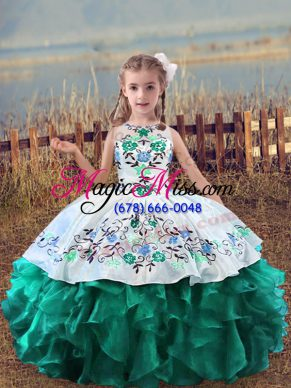 Turquoise Lace Up Little Girl Pageant Dress Embroidery and Ruffles Sleeveless Floor Length