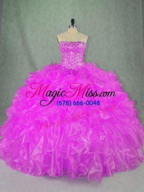 Organza Strapless Sleeveless Lace Up Beading and Ruffles Sweet 16 Dress in Lilac