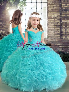 Aqua Blue Lace Up Little Girls Pageant Dress Beading and Ruching Sleeveless Floor Length