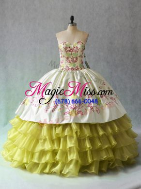 Nice Organza Sweetheart Sleeveless Lace Up Beading and Ruffled Layers Sweet 16 Quinceanera Dress in Yellow Green