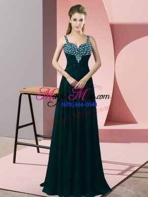 Elegant Peacock Green Empire Straps Sleeveless Chiffon Floor Length Zipper Beading Prom Evening Gown