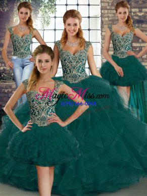 Floor Length Peacock Green Vestidos de Quinceanera Tulle Sleeveless Beading and Ruffles