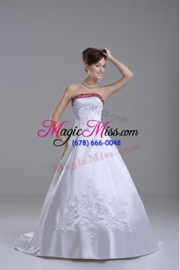 White Satin Lace Up Bridal Gown Sleeveless Brush Train Beading and Embroidery