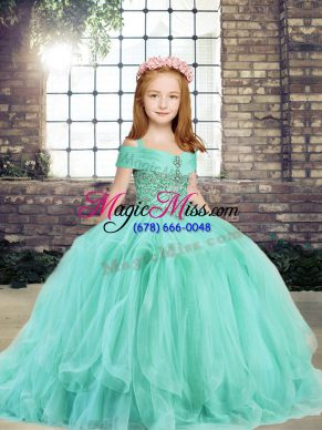 Sleeveless Floor Length Beading Lace Up Little Girls Pageant Dress with Apple Green