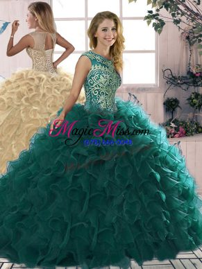 Nice Peacock Green Lace Up Scoop Beading and Ruffles 15 Quinceanera Dress Organza Sleeveless