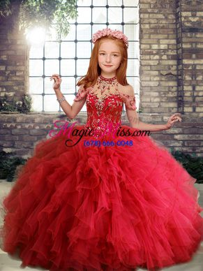 Red Sleeveless Floor Length Ruffles Lace Up Little Girls Pageant Dress Wholesale
