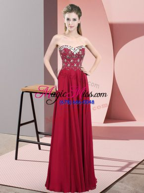 Wine Red Zipper Sweetheart Beading Prom Dress Chiffon Sleeveless