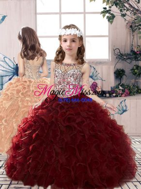 Adorable Burgundy Ball Gowns Organza Scoop Sleeveless Beading and Ruffles Floor Length Lace Up Girls Pageant Dresses