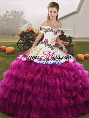 Sophisticated Off The Shoulder Sleeveless Organza 15 Quinceanera Dress Embroidery and Ruffled Layers Lace Up