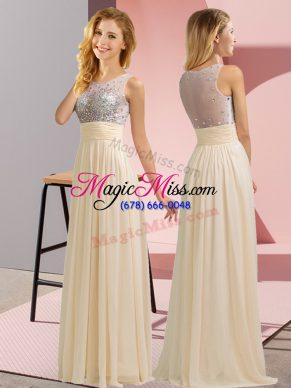 Champagne Chiffon Side Zipper Scoop Sleeveless Floor Length Quinceanera Dama Dress Beading