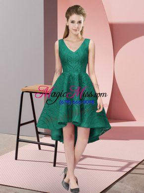A-line Bridesmaid Dresses Peacock Green V-neck Lace Sleeveless High Low Zipper