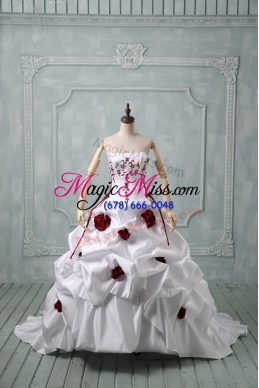 White Taffeta Lace Up Wedding Gowns Sleeveless Brush Train Embroidery and Pick Ups and Hand Made Flower
