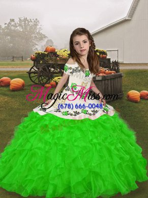 Admirable Floor Length Ball Gowns Sleeveless Green Little Girls Pageant Dress Wholesale Lace Up