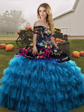 Cute Blue And Black Ball Gowns Embroidery and Ruffled Layers Sweet 16 Dresses Lace Up Organza Sleeveless Floor Length
