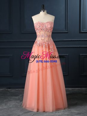Classical Orange Tulle Zipper Sweetheart Sleeveless Floor Length Homecoming Dress Lace and Appliques